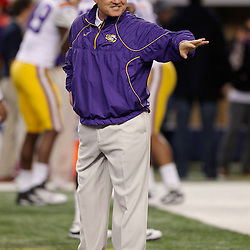 Jan 7, 2011; Arlington, TX, USA; LSU Tigers head coach Les Miles on the field during warm ups prior to kickoff against the Texas A&M Aggies in the 2011 Cotton Bowl at Cowboys Stadium.  Mandatory Credit: Derick E. Hingle