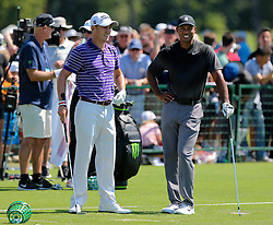 September 19, 2018 - Atlanta, Georgia, United States - Tiger Woods (R) chats with Justin Thomas during the practice round at the 2018 TOUR Championship. (Credit Image: © Debby Wong/ZUMA Wire)