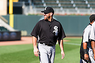 Making his Chicago White Sox debut, Kevin Youkilis smiles during batting practice before a game against the Minnesota Twins on June 25, 2012 at Target Field in Minneapolis, Minnesota.  The Twins defeated the White Sox 4 to 1.  © 2012 Ben Krause