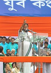 July 21, 2017 - Kolkata, India - West Bengal Chief minister and TMC Supremo Mamata Banerjee deliver her speech during the mass meeting of Trinamool Congress Party (TMC) addressed by  the West Bengal chief minister and TMC Supremo  Mamata Banerjee in Kolkata, India on 21st July, 2017. July 21, is observed every year by the Trinamool Congress (TMC) as  'Shahid Dibas' or Martyr's Day to pay homage to the youth Congress workers who were killed in police firing on July 21, 1993. (Credit Image: © Sonali Pal Chaudhury/NurPhoto via ZUMA Press)