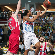 Fenerbahce Ulker's Curtis Jerrells (R) during their Euroleague Basketball Game 7 match Fenerbahce Ulker between Olympiacos at Sinan Erdem Arena in Istanbul, Turkey, Thursday, December 01, 2011. Photo by TURKPIX