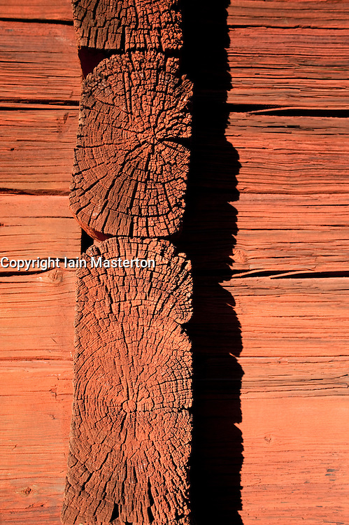 Detail of wooden beams on building at traditional farmhouse  at Skansen outdoor museum in Stockholm Sweden 2009