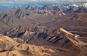Alaska. Aerial view of Polychrome Mountains looking toward Sable Mountains and Sable Pass, Denali National Park.