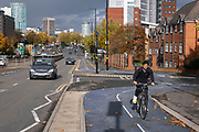 Cycle lane along the A38 Bristol Road on 26th October 2020 in Birmingham, United Kingdom. Birmingham Cycle Revolution's new blue cycle routes run in the north of Birmingham on the A34 and in the south on the A38, which provides an easy route between Selly Oak and the city centre. (photo by Mike Kemp/In Pictures via Getty Images)