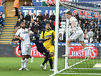 Football - 2018 / 2019 Sky Bet EFL Championship - Swansea City vs. Derby County<br /> <br /> Richard Keogh Derby County scores his team's first goal, despite the leap of George Byers Swansea City on the goal line  at The Liberty Stadium.<br /> <br /> COLORSPORT/WINSTON BYNORTH