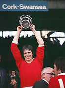 The Cork captain Martin O'Doherty receiving the Liam MacCarthy Cup after their win at the All Ireland Senior Hurling Final, Cork v Wexford in Croke Park on the 4th September 1977. Cork 1-17 Wexford 3-8.
