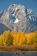 Kayakers and Mount Moran from Oxbow Bend, Grand Teton National Park, Wyoming.