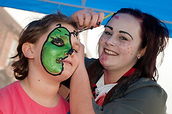 Guinness Northern Counties Housing Associations Godley Street  Scheme Hold a Halloween Street Party.Face painting Hayden Gough and Emma Hitchen..30 October 2010 .Images © Paul David Drabble