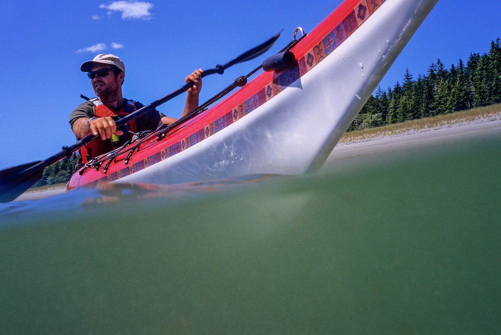 SEA KAYAKING, MAINE COAST closeups of Marc paddling (Btwn Schoodic & Roque Bluffs)