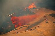 Aerial Tanker drops fire retardant on 400 acre wildfire near Mt. Diablo, Contra Costa County, CALIFORNIA