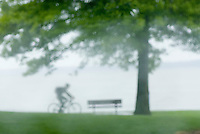 Bicyclist riding through waterfront park in the rain