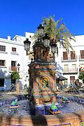 Fountain in Plaza de Espana, Vejer de la Frontera, Cadiz Province, Spain