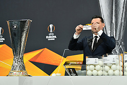 NYON, SWITZERLAND - Monday, December 14, 2020: Former Portugal player Maniche draws out Tottenham Hotspur FC during the UEFA Europa League 2020/21 Round of 32 draw at the UEFA Headquarters, the House of European Football. (Photo Handout/UEFA)