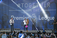 Brighton & Hove Albion manager Chris Hughton speaks to the fans on the stage during the Brighton & Hove Albion Football Club Promotion Parade at Brighton Seafront, Brighton, United Kingdom on 14 May 2017. Photo by Phil Duncan.