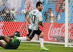 June 26, 2018 - Saint Petersburg, Russia - Lionel Messi (C) of Argentina national team celebrates his goal during the 2018 FIFA World Cup Russia group D match between Nigeria and Argentina on June 26, 2018 at Saint Petersburg Stadium in Saint Petersburg, Russia. (Credit Image: © Mike Kireev/NurPhoto via ZUMA Press)