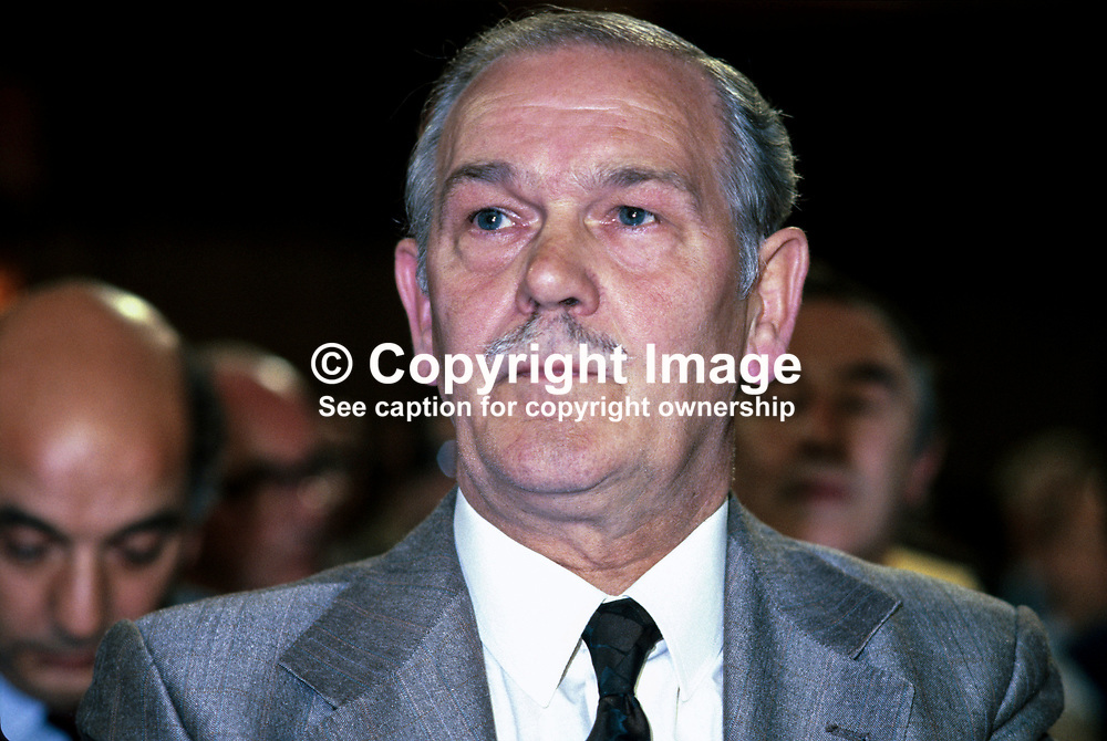 Terry Duffy, president, AUEW, Amalgamated Union of Engineering Workers, in the audience at the annual conference of the UK Labour Party. 198010000312.<br /> <br /> Copyright Image from Victor Patterson, Belfast, UK<br /> <br /> t: +44 28 9066 1296 (from Rep of Ireland 048 9066 1296)<br /> m: +44 7802 353836<br /> e: victorpattersonbelfast@gmail.com<br /> <br /> www.images4media.com<br /> <br /> Please see my full Terms and Conditions of Use at https://www.images4media.com/p/terms-conditions - it is IMPORTANT that you familiarise yourself with them.<br /> <br /> Images used online incur an additional cost. This cost should be agreed in writing in advance. Online images must be visibly watermarked i.e. © Victor Patterson or that of the named photographer within the body of the image. The original metadata must not be deleted from images used online.<br /> <br /> This image is only available for the use of the download recipient i.e. television station, newspaper, magazine, book publisher, etc, and must not be passed on to a third party. It is also downloaded on condition that each and every usage is notified within 7 days to victorpattersonbelfast@gmail.com.<br /> <br /> The right of Victor Patterson (or the named photographer) to be identified as the author is asserted in accordance with The Copyright Designs And Patents Act (1988). All moral rights are asserted.