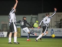 Falkirk's Lee Miller scoring their third goal. <br /> Falkirk 4 v 1 Fraserburgh, Scottish Cup third round, played 28/11/2015 at The Falkirk Stadium.