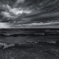 """Dark Times""<br /> <br /> Beautiful dark and dramatic sky over Lake Michigan!"