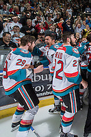 KELOWNA, CANADA - MAY 13: Leon Draisaitl #29 and Madison Bowey #4 of the Kelowna Rockets celebrate the WHL Championship title with a game 4 win against the Brandon Wheat Kings on May 13, 2015 during game 4 of the WHL final series at Prospera Place in Kelowna, British Columbia, Canada.  (Photo by Marissa Baecker/Shoot the Breeze)  *** Local Caption *** Celebrations; fans; Madison Bowey; Leon Draisaitl;