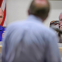 City Councilman Allan Landavazo asks question to Richard Marzke as Mayor Jackie McKinney listens during a city council meeting on Tuesday at Gallup City Administration Service building.