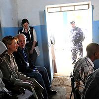 Khartoum, Sudan 11 April 2010.EU mission chief observer Veronique de Keyser and EU observers control a polling station during the presidential elections in Sudan..Photo: Ezequiel Scagnetti