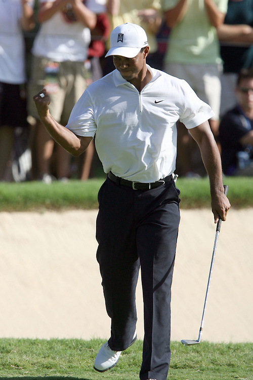 10 August 2007: Tiger Woods pumps his fist after a birdie on the 14th hole during the second round of the 89th PGA Championship at Southern Hills Country Club in Tulsa, OK.