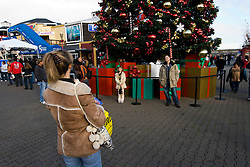 California: San Francisco Christmas celebration, Pier 39. Christmas tree and ornanents. Photo copyright Lee Foster.  Photo # 32-casanf76011