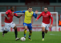 Football - 2020 / 2021 Emirates FA Cup - Round Two: Morecambe vs. Solihull Moors<br /> <br /> Jamey Osborne of Solihull Moors breaks through the Morecambe midfield, at the Mazuma Stadium.<br /> <br /> COLORSPORT/ALAN MARTIN