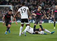 Football - 2019 / 2020 Sky Bet (EFL) Championship - Fulham vs. Leeds United<br /> <br /> EzgjanAlioski (Leeds United) is caught by Bobby Reid (Fulham FC) as he breaks at Craven Cottage<br /> <br /> COLORSPORT/DANIEL BEARHAM