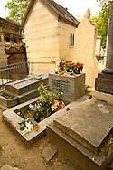 Paris France - Pere La Chaise - cemetry - Jim Morrison Grave .<br /> <br /> Visit our FRANCE HISTORIC PLACES PHOTO COLLECTIONS for more photos to download or buy as wall art prints https://funkystock.photoshelter.com/gallery-collection/Pictures-Images-of-France-Photos-of-French-Historic-Landmark-Sites/C0000pDRcOaIqj8E