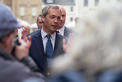 © Licensed to London News Pictures . 05/06/2014 . Newark , Nottinghamshire , UK . UKIP leader NIGEL FARAGE on Market Square in Newark today (Thursday 5th June 2014) as voting takes place in the Newark by-election , following the resignation of incumbent Patrick Mercer . Photo credit : Joel Goodman/LNP