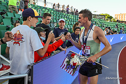 USA Olympic Track and Field Team Trials<br /> June 18-28, 2021 <br /> Eugene, Oregon, USA<br /> Joe Klecker, On Running, celebrates making the USA Olympic team in the 10000 meters