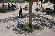 City workers enjoy summer sunshine in the shade of urban trees on Leadenhall Street, City of London, on 9th June 2016, in London, United Kingdom. A businessman wearing a dark suit and holding a folder walks in the direction of Lloyds of Londons insurance headquarters across the road.  Others sit on plinths in the sun making calls.