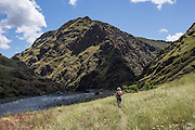 After 5 miles, the Imnaha River Trail ends at the confluence with the Snake River in Hells Canyon National Recreation Area, Wallowa-Whitman National Forest, north of Imnaha village, Oregon, USA. The entire river is designated Wild and Scenic.
