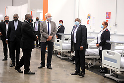 South Africa Cape Town 05 June 2020  President Cyril Ramaphosa visited the City of Cape Town to assess the Western Cape's provincial response to the COVID-19 pandemic.The Western Cape province currently accounts for nearly two-thirds of infections nationally.The visit follows oversight visits by the President to Gauteng, Kwa-Zulu Natal and the Eastern Cape to evaluate the fight against COVID-19. President Ramaphosa accompanied by Premier Alan Winde on his inspection of COVID-19 facilities.President Ramaphosa commence his visit by receiving a presentation on the Western Cape Province's COVID-19 response strategy. He later officiate the official opening of the Hospital of Hope and conducted the walk about. Photographer Ayanda Ndamane African news agency/ANA
