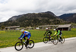Riders in Begunje during 3rd Stage from Soca to Prevalje, 230km at Day 3 of DOS 2021 Charity event - Dobrodelno okrog Slovenije, on April 29, 2021, in Slovenia. Photo by Vid Ponikvar / Sportida
