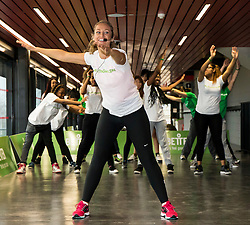 """© Licensed to London News Pictures. LONDON UK 26/11/14. Former Big Brother winner Josie Gibson at the Copper Box Arena where she launched 'For the Girls"""" a national campaign designed to encourage women and girls to take regular exercise"""". Photo credit : ANDREW BAKER/LNP"""