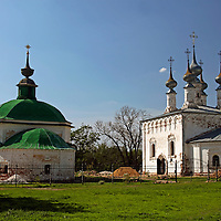 Europe, Russia, Suzdal. Pyatnitskaya Church and Church of Entry into Jerusalem.