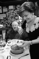 """for story by RW Apple....Pot au Feu in the Parisian bistro """"Chez la Vieille - 'Adrienne' """"....It is being served by Marie-Jose Cervoni, the owner and hostess....photo by Owen Franken"""