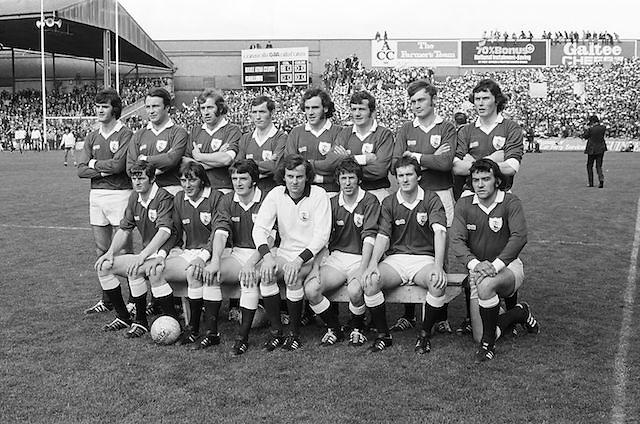 The Galway team before the All Ireland Senior Gaelic Football Championship Final Dublin V Galway at Croke Park on the 22nd September 1974. Dublin 0-14 Galway 1-06. G Mitchell (capt), J Waldron, J Cosgrove, B Colleran, L O'Neill, T J Gilmore, J Hughes, W Joyce, M Rooney, T Naughton, J Duggan, P Sands, C McDonagh, L Sammon, J Tobin, Sub J Burke for C McDonagh.
