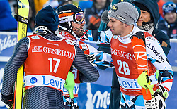 13.11.2016, Black Race Course, Levi, FIN, FIS Weltcup Ski Alpin, Levi, Slalom, Herren, 2. Lauf, im Bild Manfred Moelgg (ITA), Sieger Marcel Hirscher (AUT), Michael Matt (AUT) // Michael Matt of Austria // Manfred Moelgg of Italy, Winner Marcel Hirscher of Austria, Michael Matt of Austria  reacts after his 2nd run of mens Slalom of FIS ski alpine world cup at the Black Race Course in Levi, Finland on 2016/11/13. EXPA Pictures © 2016, PhotoCredit: EXPA/ Nisse Schmidt<br /> <br /> *****ATTENTION - OUT of SWE*****