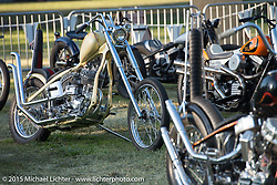 Invited builder Joey Cano's custom Harley-Davidson Flathead on Day one of the Born Free Vintage Chopper and Classic Motorcycle Show at the Oak Canyon Ranch in Silverado, CA. USA. Saturday, June 28, 2014.  Photography ©2014 Michael Lichter.