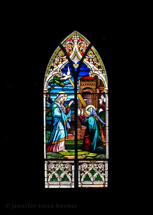 """Window 4 on plan. 55""""w x approx. 120""""h.<br /> <br /> Based on an illustration by Julius Schnorr von Carolsfeld (1794 –1872) in The Bible in Pictures: [Die Bibel in Bildern. London: Norgate and Williams, 1856; Leipzig: Georg Wigands, 1860.]<br /> <br /> Holy Redeemer Catholic Church, Bar Harbor, Maine."""