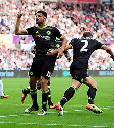 Diego Costa of Chelsea celebrates. - Mandatory byline: Alex James/JMP - 07966386802 - 11/09/2016 - FOOTBALL - Barclays premier league -swansea,Wales - Swansea v Chelsea  -