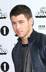 © Licensed to London News Pictures. 19/10/2014, UK. Nick Jonas, BBC Radio 1's Teen Awards, SSE Arena Wembley, London UK, 19 October 2014. Photo credit : Richard Goldschmidt/Piqtured/LNP