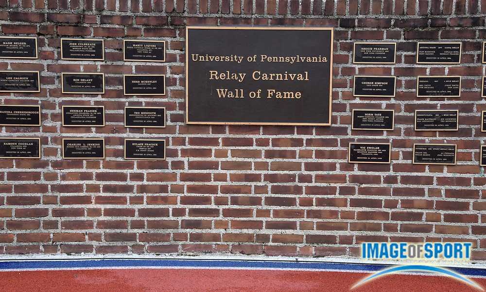 Apr 27, 2018; Philadelphia, PA, USA; Detailed view of the University of Pennsylvania Relay Carnival Wall of Fame during the 124th Penn Relays at Franklin Field.