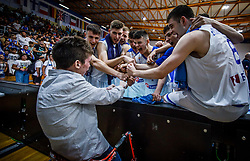 Rogkavopoulos  Nikolaos of Greece and other players celebrate with fan after the basketball match between National teams of Greece and Slovenia in the Group Phase C of FIBA U18 European Championship 2019, on July 29, 2019 in  Nea Ionia Hall, Volos, Greece. Photo by Vid Ponikvar / Sportida