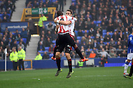 Jermain Defoe of Sunderland celebrates after scoring his teams 1st goal. Barclays Premier League match, Everton v Sunderland at Goodison Park in Liverpool on Sunday 1st November 2015.<br /> pic by Chris Stading, Andrew Orchard sports photography.