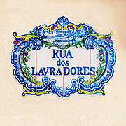 Decorated, painted ceramic street sign Rua Dos Lavradores, from Nazare, Portugal