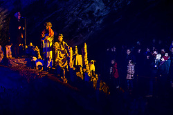 Singer Oto Pestner and Three Wise men perform during the Living Nativity Scenes inside Postojna Cave, on December 21, 2017 in Postojna, Slovenia. Living Nativity Scene is staged along a 5 km long path through the world-famous Postojna Cave in Slovenia with some 200 people performing and working. Photo by Vid Ponikvar / Sportida